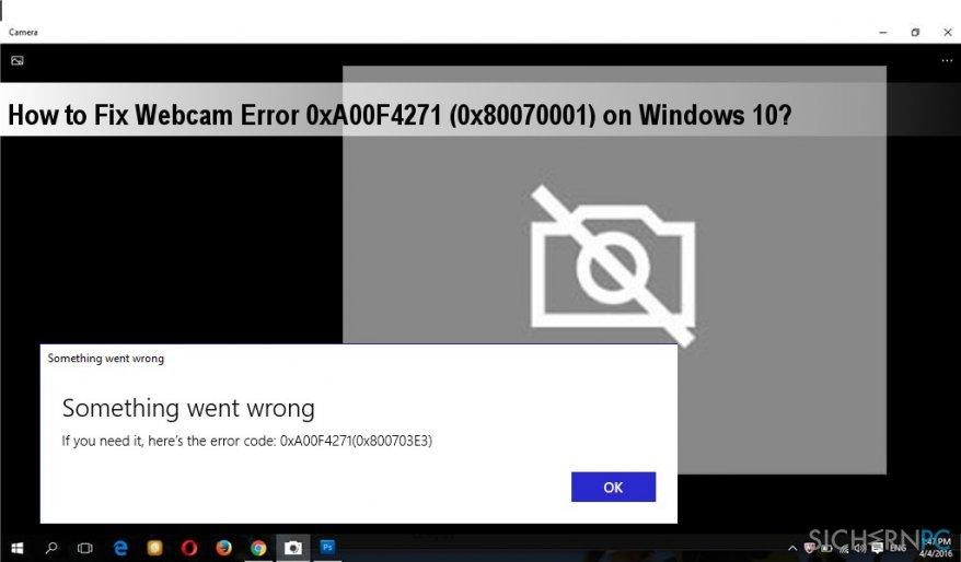 an image of 0xA00F4271 (0x80070001) error