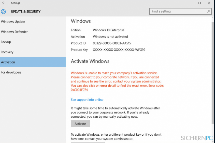 How to Fix Windows 10 Activation Error Code: 0xC004F074?