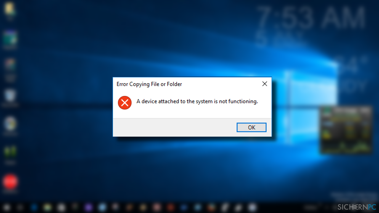"""""""A device attached to the system is not functioning"""" error"""