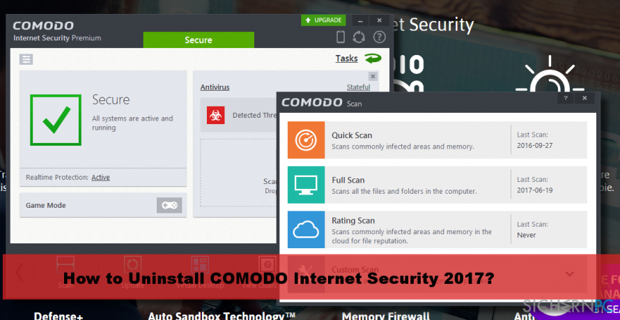 a picture of Comodo Internet Security 2017 scan