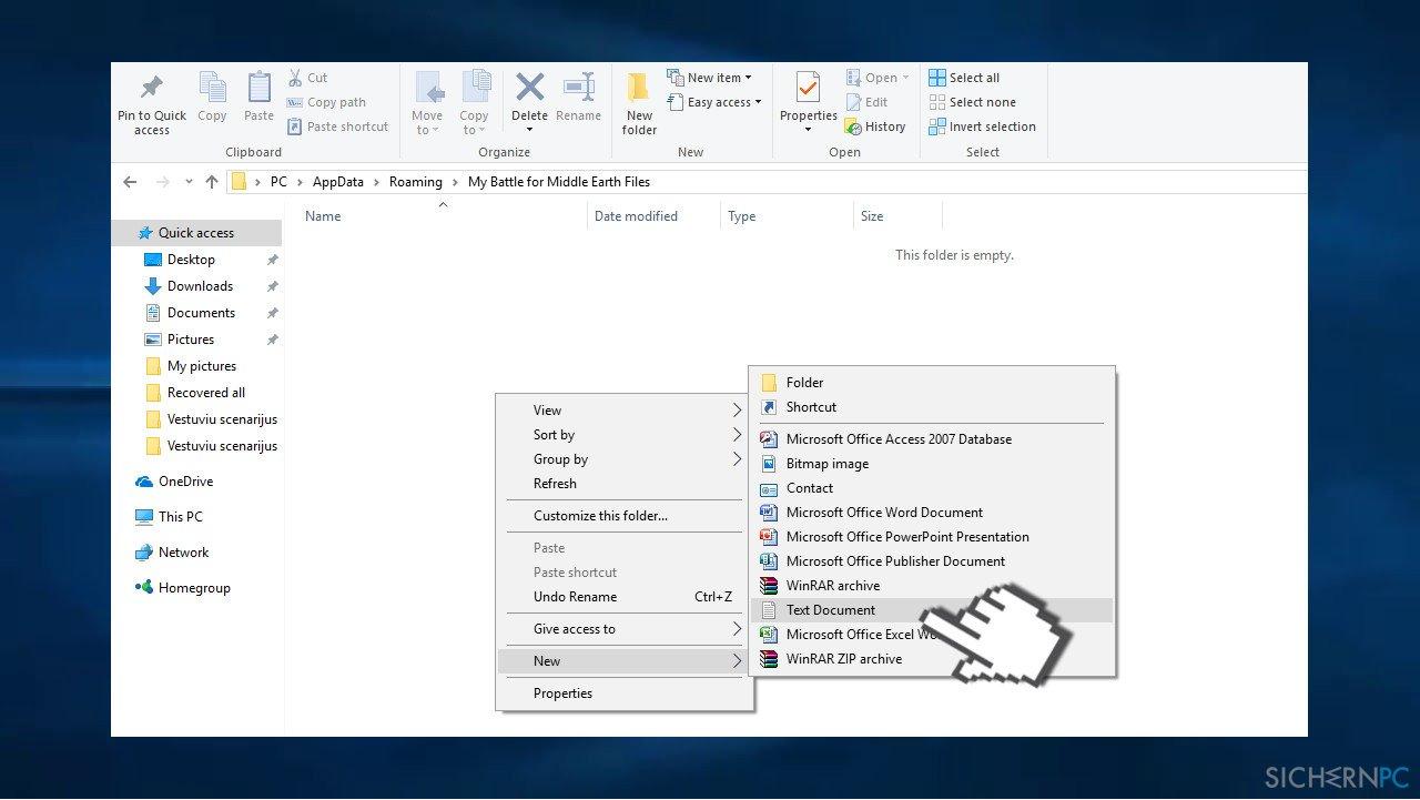 Create text document
