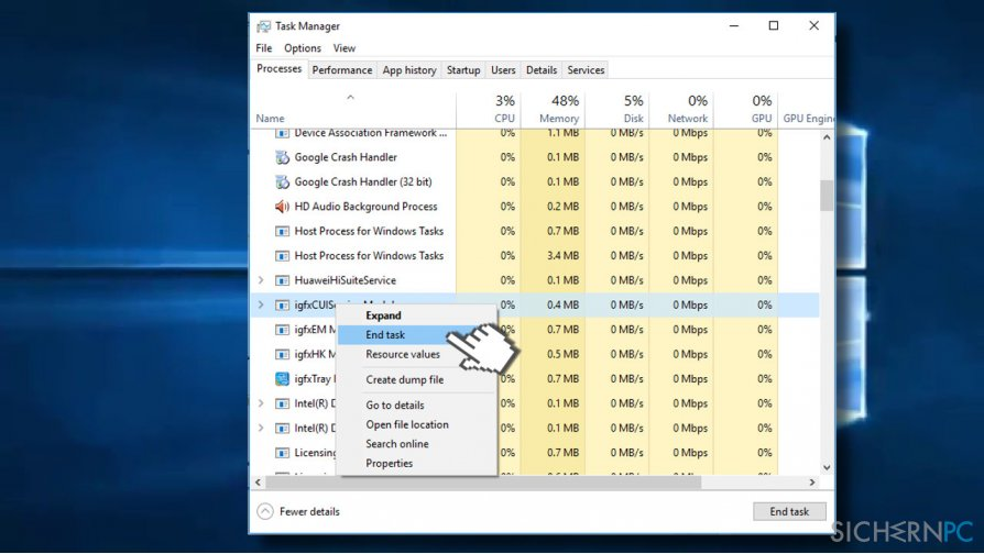 Disable processes in Task Manager
