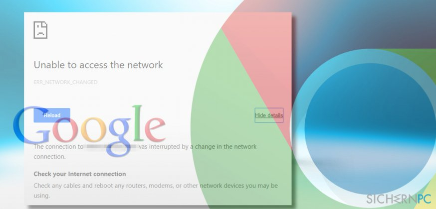 showing ERR_NETWORK_CHANGED error on Chrome
