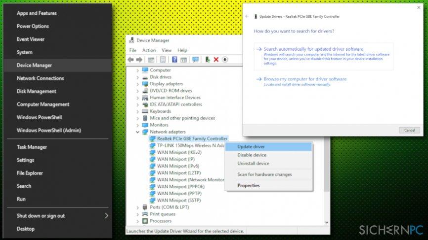 Error 1075 - update network drivers