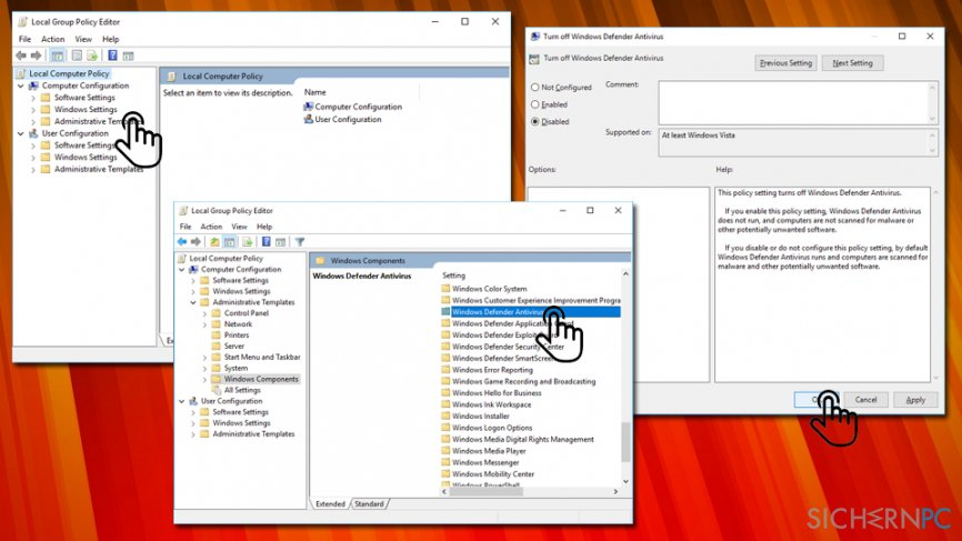 Error Code 0x800704ec change local group settings