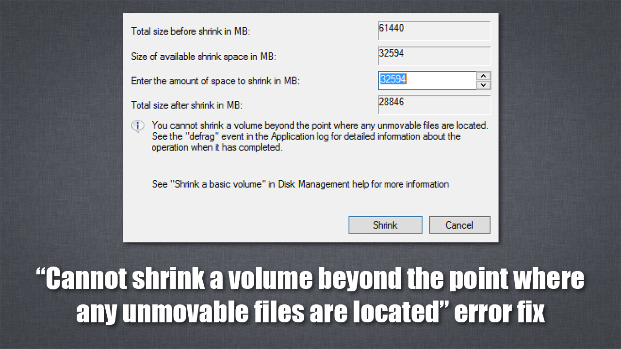 [Solved] Cannot shrink a volume beyond the point where any unmovable files are located