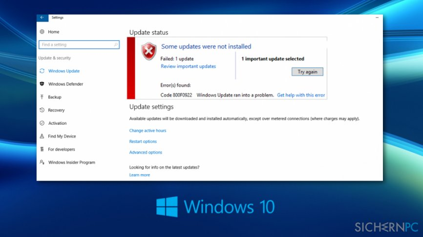 Windows 10-Updatefehler 0x800F0922 beheben