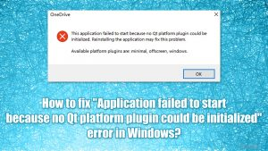 """Wie behebt man in Windows den Fehler """"Application failed to start because no Qt platform plugin could be initialized""""?"""