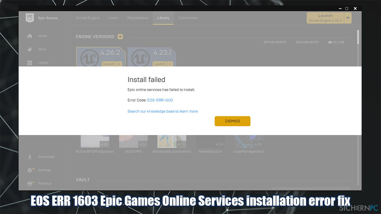 How to fix EOS ERR 1603 Epic Games failed to install error?