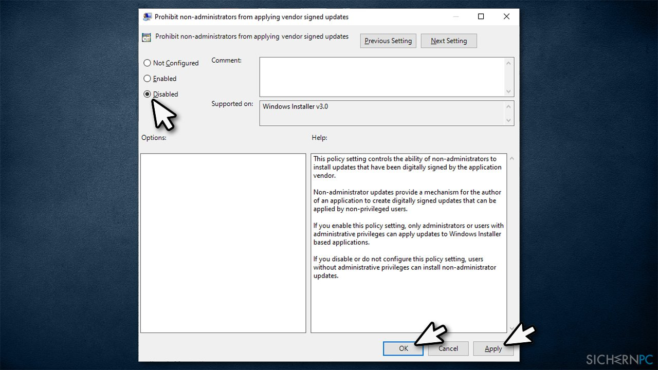 """How to fix """"The installation is forbidden by system policy"""" error?"""