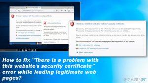 """Wie behebt man den Fehler """"Es besteht ein Problem mit dem Sicherheitszertifikate der Website"""", wenn man legitime Webseiten aufruft?"""