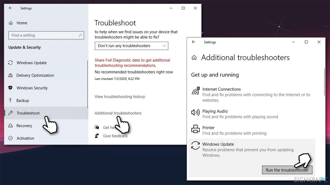 How to fix Windows 10 update error code 0x800f0831?