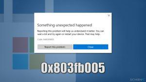 Wie behebt man den Windows Store-Fehler: 0x803fb005?