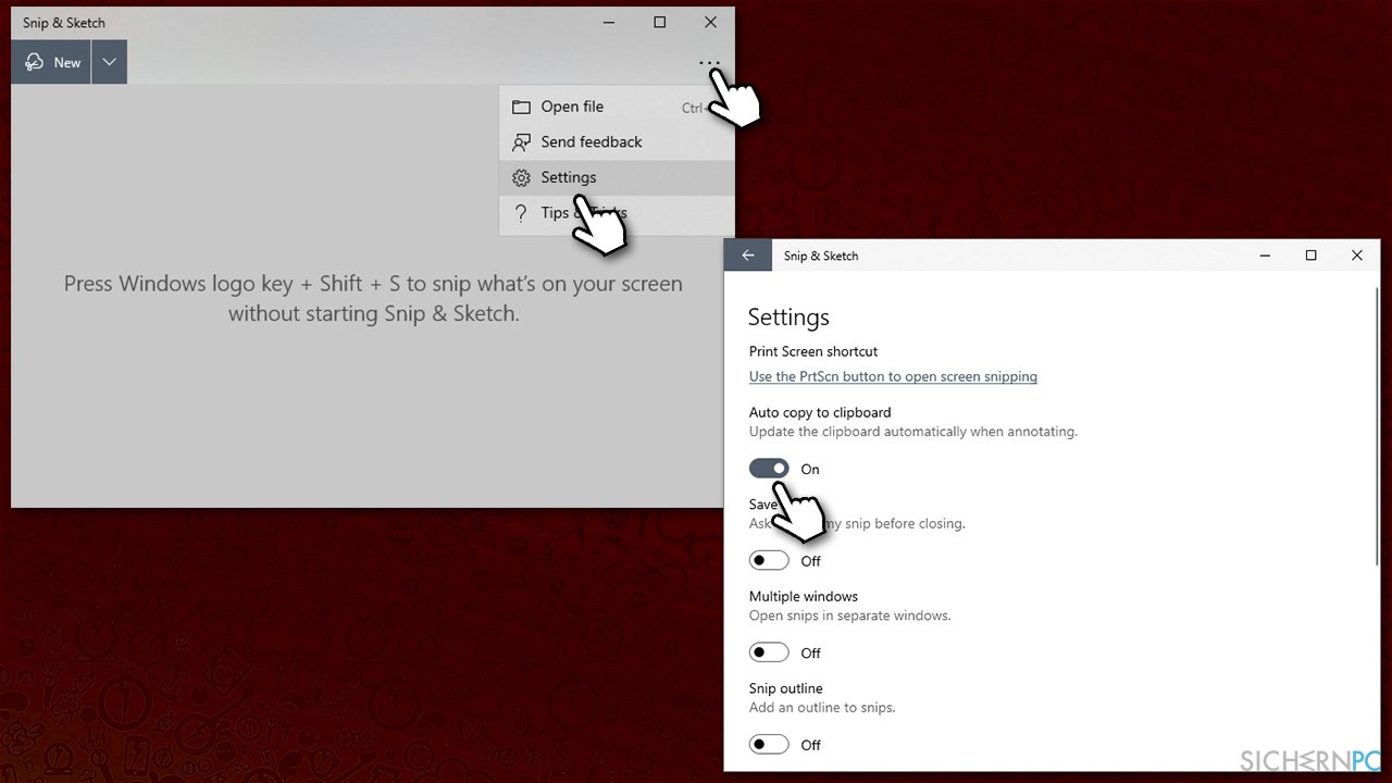 Snip & Sketch: how to save screenshots to specified location?