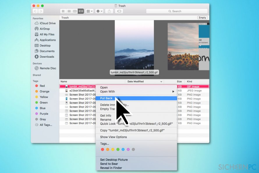 Recover files from Trash bin on Mac