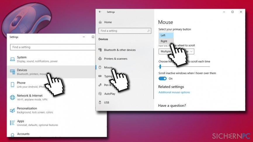 Select default mouse click