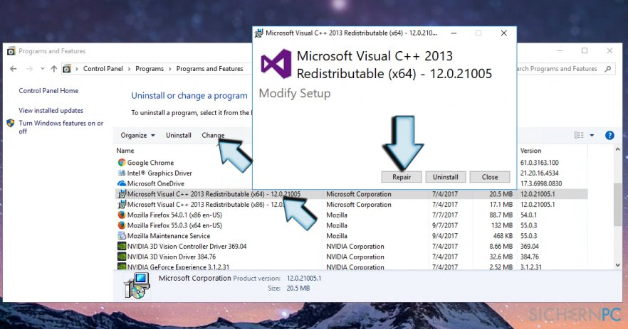 How to repair Microsoft Visual C++ 2015 Redistributable