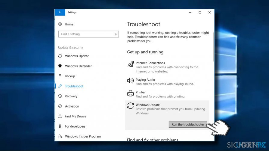 Run Windows Update troubleshooter