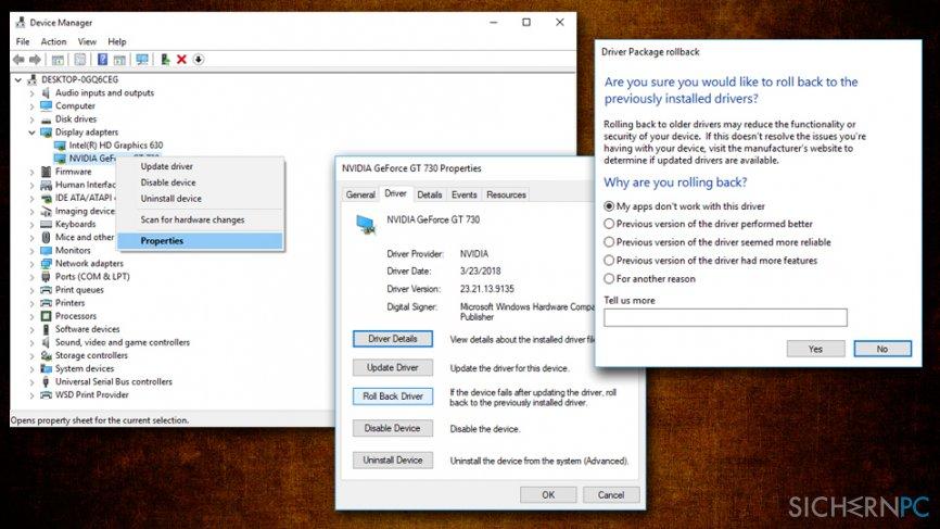 Taskbar not responding - roll back graphics drivers