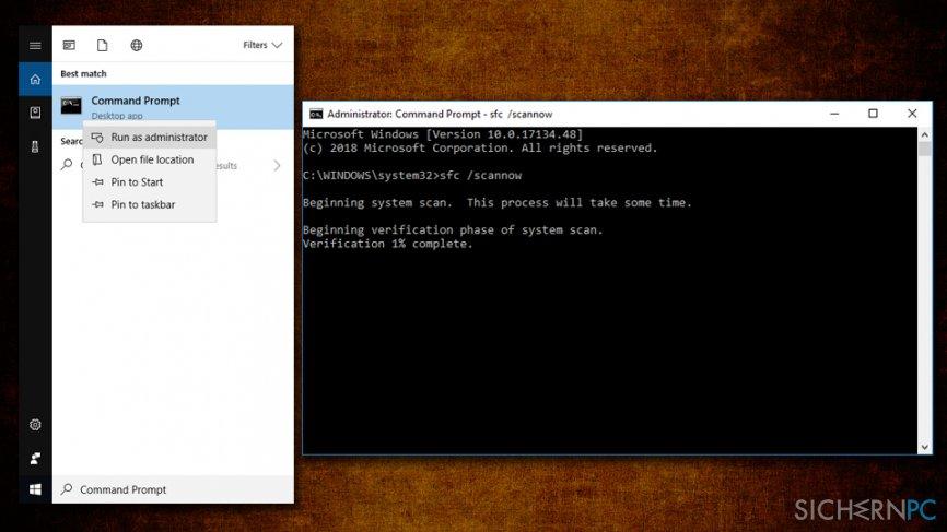 Taskbar not responding - run System File Checker
