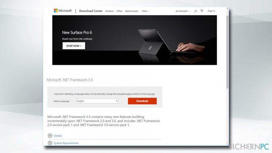 Reinstall Microsoft .NET Framework