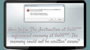 """Wie behebt man den Fehler """"Die Anweisung in 0x00*** verwies auf Arbeitsspeicher bei 0x00***. Der Vorgang written konnte im Arbeitsspeicher nicht durchgeführt werden""""?"""