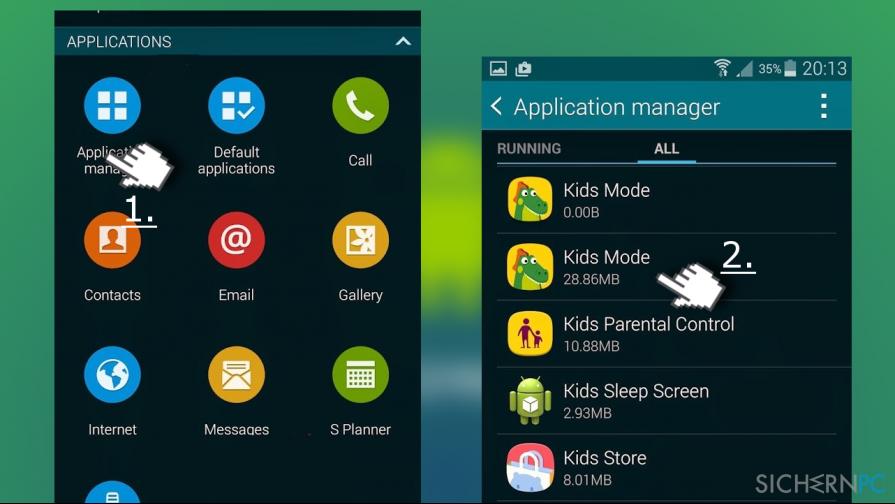 uninstall Kids Mode app