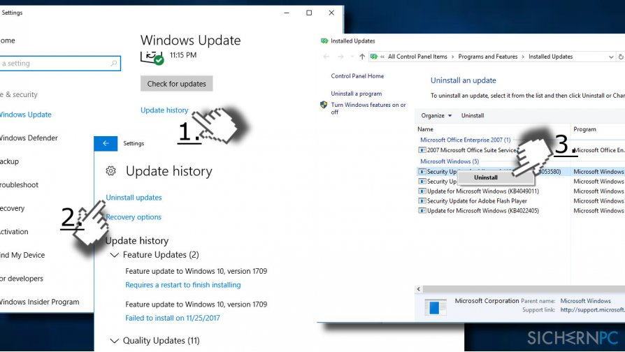 Uninstall Windows updates