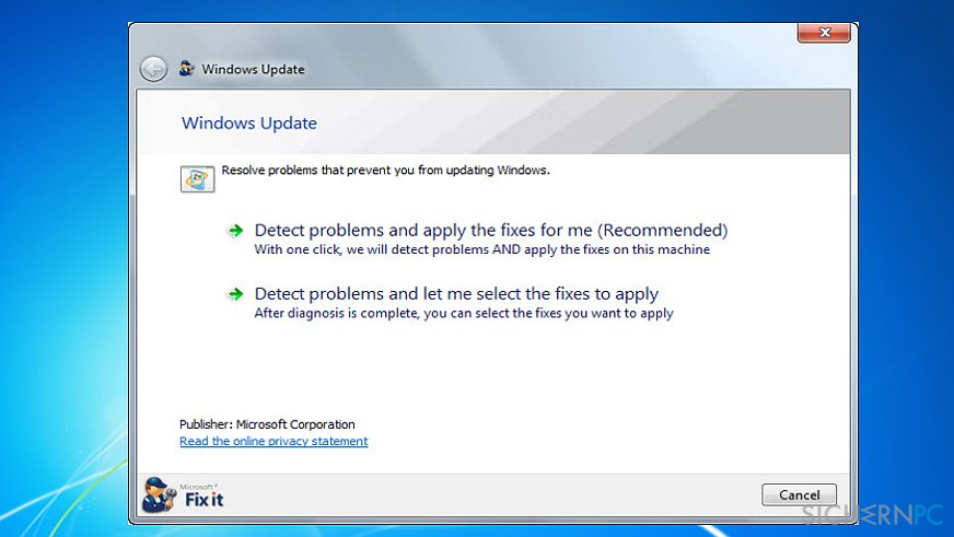 Run Windows Update Troubleshooter (Microsoft FixIt tool)